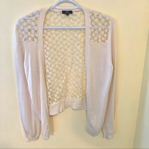 YesNo Embroidered white floral open cardigan